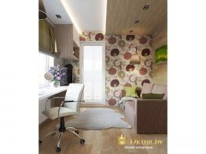 необычное решение для потолка: споты, светодиодная лента. часть потолка белая, чать - деревянные панели. На стене фотобои с природными мотивами.