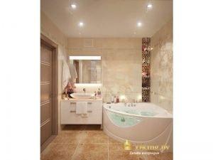 ванная: угловая гидромассажная ванна, накладной умывальник, зеркало с подсветкой