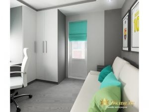 угловой белый шкаф в детской комнате, серые стены, серый пол. выход на балкон из комнаты оформлен римской бирюовой шторой
