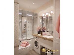ванная: белая плитка, стиральная машинка встроена под столешницу, умывальник встроен в столешницу. дополнительные места для хранения