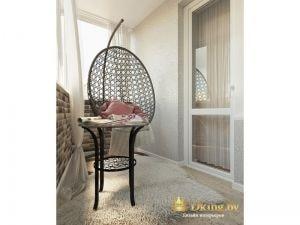 утепленный балкон, подвесное плетеное кресло контрастного темного цвета