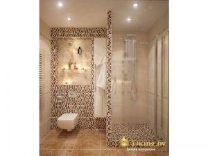 подвесной унитаз, душевой стационарный уголок, мозаика на стене, ниши и стекляные полки
