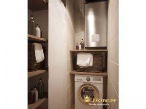 прачечная: водонагреватель, стиральная машина, раздвижной шкаф для хранения ванных принадлежностей