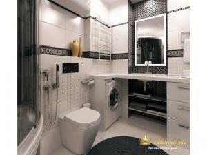 контрастная черно-белая ванная: умывальник выолнен из искусственного камня, под столешницу встроена стиральная машинка и выдвижные ящики. Пространство под умывальником открытое. За зеркалом - черная рельевная плитка. Унитаз напольный с инсталляцией. плитк