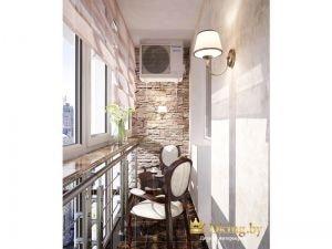 балкон: классические стулья, кофейный столик, бра с абажуром