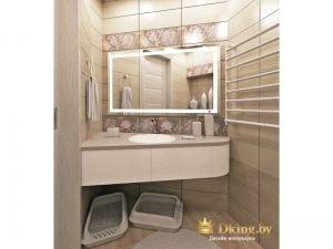 санузел выложен белой плиткой, умывальник встроен в столешницу. зеркало с подсветкой. в ванной оборудовано место для лотков домашних питомцев
