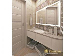 большое зеркало в ванной с подсветкой по периметру, большая столешница с встроенным умывальником, под столешницей - ящики без ручек