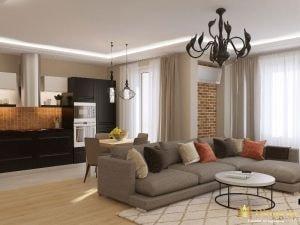 Диван, разноцветные подушки, деревянный пол и черная мебель