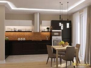 Фото кухни: черный холодильник, обеденная группа, больший светдые окна