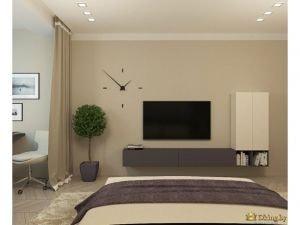 ВИд интерьера, если смотреть с позиции лежащего на кровати человека
