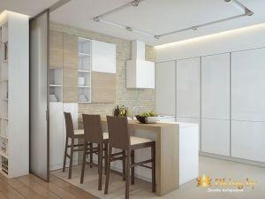 Обеденная зона: стулья, стол и шкафы с посудой