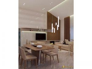 Интерьер гостиной: стол, стулья, телевизор, мебель