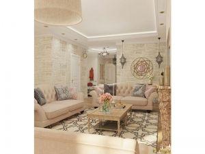 Вид интерьера комнаты: диваны, столик