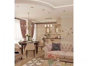 Общий вид комнаты, сопряженной с кухней