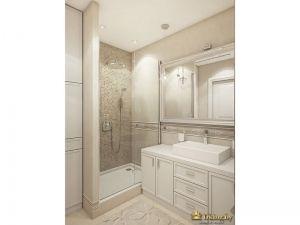 Интерьер ванной комнаты: зеркало, ванна, душ