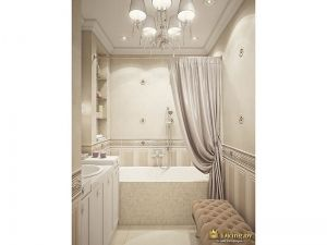 Вид на ванну: шторы, пуфик, умывальник