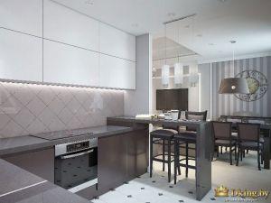 Общий вид на кухню. Темная мебель добавляет лоска