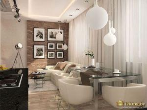 Шаровидные светильники, стеклянный журнальный столик, коричневая стена с фото