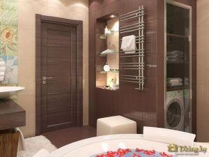 Органично устроенная мебель: стиральная машина находится в шкафу. Отлично экономится пространство