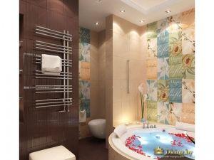 Общий вид ванной комнаты: на фото видны лепестки роз в воде