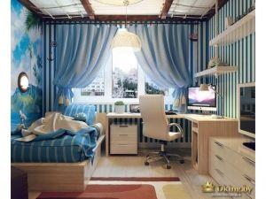 Дизайн интерьера детской комнаты спроектирован с упором на морскую тематику