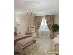 Светлые тяжелые шторы в спальне