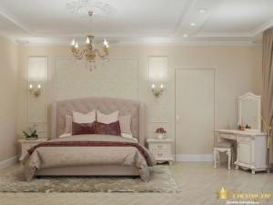 Светлая кровать и трюмо