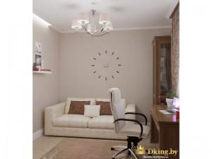 Стена-часы и светлый диван