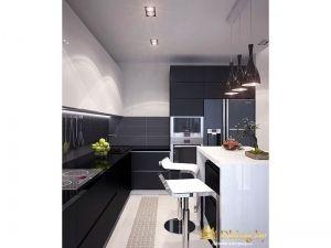 Черно-белая кухня с большим холодильником
