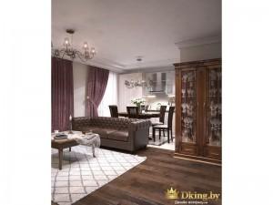 кожаный диван на  деревянном полу