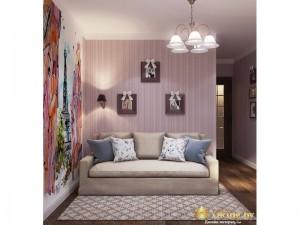 Трехместный диван в комнате