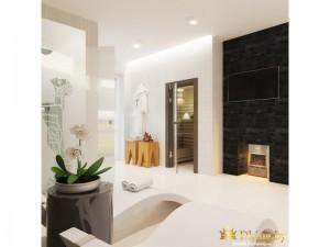 Ванная с электрическим камином
