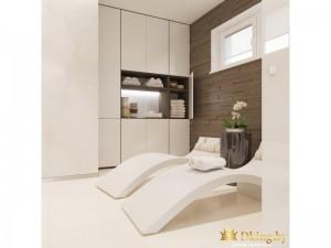 Белые кресла для отдыха в ванной