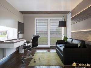 Кабинет с кожаным диваном