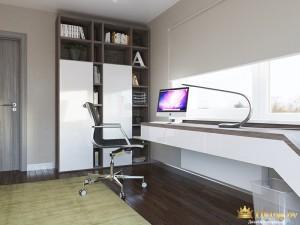 Деревянный стол в рабочем кабинете