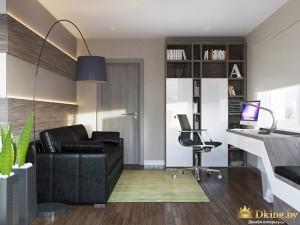Кабинет с диваном и рабочим столом