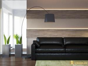 Кожаный диван с большим торшером