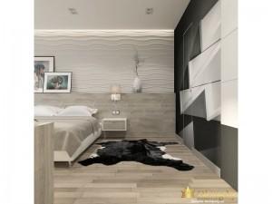 Деревянная спальня со шкурой на полу