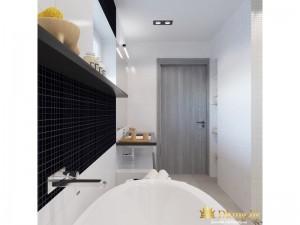 Ванная комната с черной стенкой