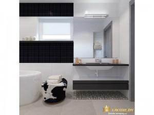 Зеркало на полке в ванной