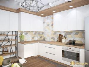 Кухня с дизайнерской люстрой