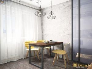 Стол на кухне около стены