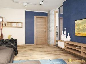 Комната с синими и белыми стенами