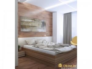 Кровать в деревянной спальне
