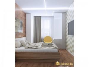 Деревянная кровать с желтым стулом
