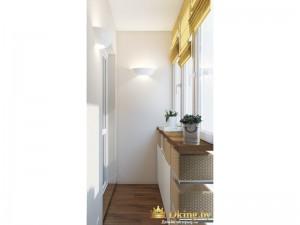 Светлая белая деревянная лоджия