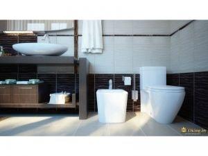 туалетная комната: биде, унитаз и система для хранения ванных принадлежностей