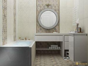 ванная в классическом стиле: встроенный умывальник, прямоугольная ванна, акцентная стена и зеркало