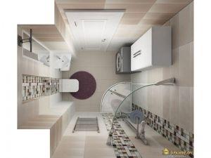 санузел с нишей: в нишу встроен подвесной унитаз, отдельно стоит стиральная машина и душевая кабина