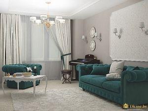 диван и кресло насыщенного бирюзового цвета, пианино в гостиной, классический столик с резными ножками
